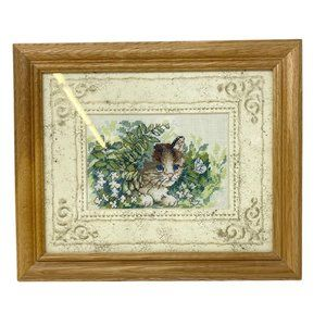 Vintage Cross-Stitch Cat With Butterflies, Flowers